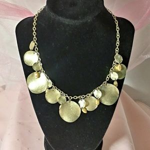 Pearl & Brass Medallion Bib Collar Necklace